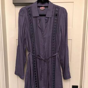 Blue/Gray quarter sleeve dress